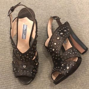Prada jewel encrusted brown sandals 38.5